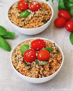 Spenótos-paradicsomos bulgur Fried Rice, Fries, Ethnic Recipes, Food, Bulgur, Essen, Meals, Nasi Goreng, Yemek