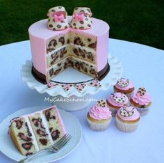 Animal Print Cake- diva baby shower. Luv the inside animal print!!