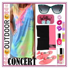 """""""Outdoor Summer Concert"""" by westcoastcharmed ❤ liked on Polyvore featuring Shabby Chic, Glamorous, Victoria's Secret PINK, Dolce&Gabbana, Clinique, O-Mighty, Maybelline and outdoorconcert"""
