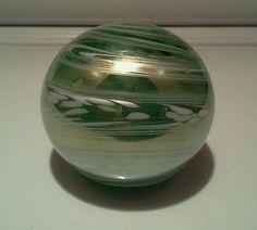 TOM ST CLAIRE SWIRLED PAPERWEIGHT GREEN WHITE SWIRL ARTGLASS