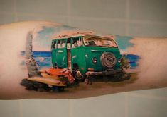 Volkswagen bus Tattoo.  Татуировка автобус Фольксваген. Realism Tattoo, Watercolor Tattoo, Tattoos, Realist Tattoos, Tatuajes, Tattoo, Temp Tattoo, Tattos, Tattoo Designs
