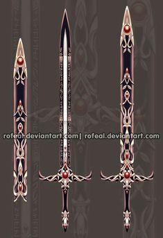 Sword, red, black, sheath; Anime Weapons