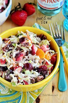 Filled with fruits like strawberries and mandarin oranges and dressed in Marzetti's Light Slaw Dressing with pecans and blue cheese, this fruit slaw is a great substitution from your usual slaw.