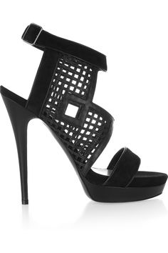 Burak Uyan - Cutout suede and leather sandals