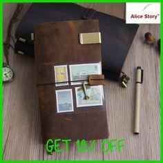 100% Genuine Leather Traveler's Notebook Diary Journal Vintage Handmade Cowhide gift travel notebook free lettering embosse