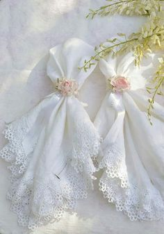 ...white handkerchiefs with lace...