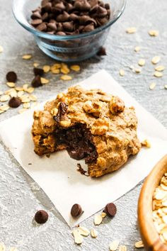 TheseChocolate Stuffed Banana Nut Breakfast Cookies are making dreams come true. This recipe tastes like a soft and sweet cookie but is healthy enough to eat for the most important meal of the day. Made with gluten free whole grains and sweetened with banana and a touch of maple syrup. Gluten free, vegan, oil free, naturally sweetened. | CatchingSeeds.com