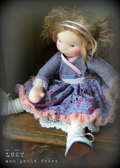 Lucy-handmade natural fiber art doll by Mon Petit Frère