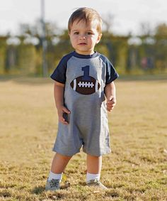 This Gray & Blue Football '1' Birthday Shortalls - Infant is perfect…
