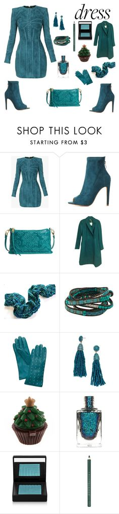 Teal Long Sleeve Dress party outfit by siriusfunbysheila1954 on Polyvore featuring Balmain, Kate Spade, Cape Robbin, HOBO, NOVICA, BaubleBar, Tory Burch, Chantecaille and NARS Cosmetics