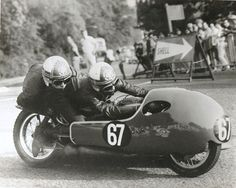 The White Cross go sidecar racing at the 1970 TT with the Mansfield White...