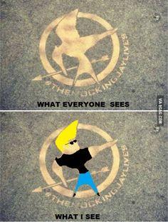 Lol Johnny Bravo But I see the Mockingjay Hunger Games Memes, Hunger Games Mockingjay, Hunger Games Trilogy, Johnny Bravo, It's Johnny, Neil Patrick Harris, Uma Thurman, Memes Humor, Funny Memes