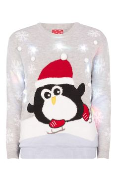 Pull de Noël Light Up à motif pingouin