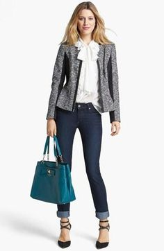 Pair a textured blazer with jeans and a blouse for the perfect casual Friday outfit.