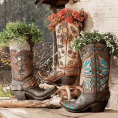 Cowboy Boot Vases - This is not a set - A Lone Star Western Decor Exclusive - Available in three fun, fanciful designs, the resin Cowboy Boot Vases hold your flowers with western style. ~