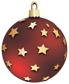 Transparent Red Christmas Ball With Stars Ornament Clipart