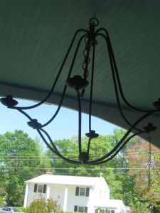 Pottery Barn Chandelier (found at a yard sale for $7.00) draws the eye up to the beautiful blue ceiling and will be extra lighting when candles are added. (Don't be afraid to mix old and new pieces)