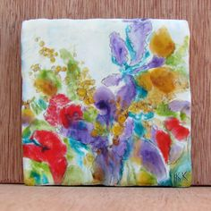 Original Encaustic Painting Abstract Flower Painting by KLynnsArt, $45.00