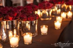 Elegant and Classy White and Crimson Wedding Florals with Lots of Candlelight
