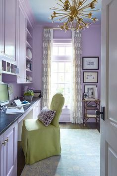 Margaret Kirkland Interiors design Atlanta Georgia Buckhead Georgian style home classic traditional Southern Living colorful makeover Purple Home Offices, Purple Office, Purple Rooms, Purple Walls, Feng Shui, Interior Design Atlanta, Georgian Style Homes, Decoration Ikea, Decorations
