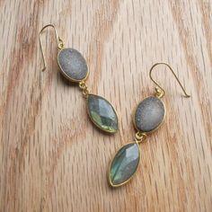 Druzy Labradorite Earrings Gold Dangle Earrings Silver by Belesas