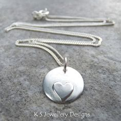 Sterling Silver Pendant - HEART DISC - Handmade Metalwork Necklace £24.00