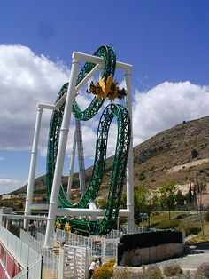 The green lantern roller coaster at six flags magic mountain in Valencia, CA.  next time mike!
