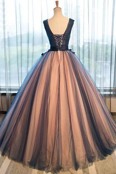 Unique v neck tulle long prom gown, dark blue evening dress, Customized service and Rush order are available