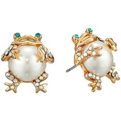 Betsey Johnson Pearl Critters Frog Stud Earrings (Pearl) Earring ($23) ❤ liked on Polyvore featuring jewelry, earrings, round earrings, pave stud earrings, pearl stud earrings, pearl jewellery and post earrings