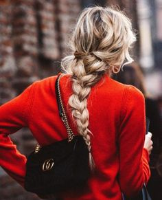 red sweater + messy braid