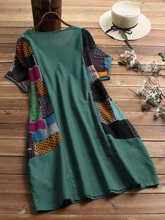 Gracila Women Ethnic Print Patchwork Pockets Short Sleeve Vintage Dress is high-quality, see other cheap summer dresses on NewChic. Stylish Dress Designs, Stylish Dresses, African Wear, African Dress, Maxi Outfits, Fashion Outfits, Dress Shirts For Women, Clothes For Women, Moda Afro