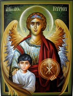 Archangel Raphael with Tobiah Religious Icons, Religious Images, Religious Art, Angel Warrior, Archangel Gabriel, I Believe In Angels, Religious Paintings, Byzantine Icons, Catholic Art