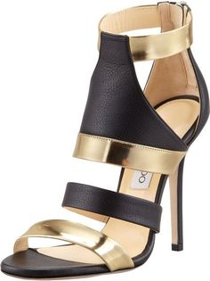 Jimmy Choo Gold Besso Mixed Leather Sandal