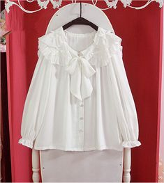 Style: sweet Material: Polyester Color: White Size: Free Length: 58CM Bust: 102CM Shoulder: 38CM Sleeve: 56CM
