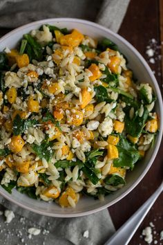 Orzo with Butternut Squash, Spinach and Blue Cheese
