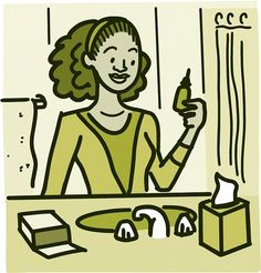 Illustration of a woman looking at a saline rinse bottle over the bathroom sink Saline Rinse, Nice And Slow, Cystic Fibrosis, How To Get Thick, Northwestern University, Bacterial Infection, Runny Nose, Flu Season