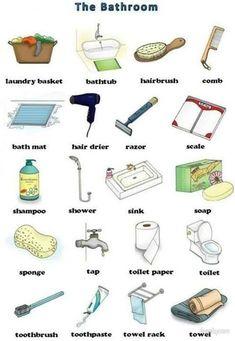 English vocabulary : the bathroom English Resources, English Tips, English Activities, English Fun, English Idioms, Learn English Words, English Study, English Class, English Lessons