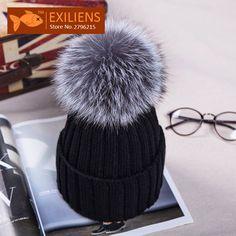 98e03783495 New Autumn Winter women cap real fox fur ball hat Pom poms knitted cap  female thick protect ear warm Lady Beanies Headgear