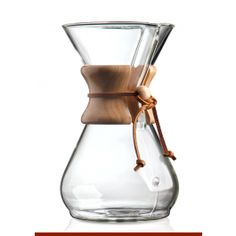 * Includes a polished wood collar with leather tie* Selected by the Illinois Institute of Technology as one of the 100 best designed products of modern times* All of the coffeemakers are measured using 5 oz. as 1 cup* Chemex filters are required for operation all Chemex coffee makers* Capacity: 40 Oz