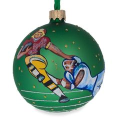 "3.25"" American Football Glass Ball Christmas Ornament"