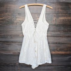 lace overlay lace-up romper - cream - shophearts - 2