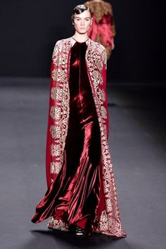 4b. Naeem Khan Fall 2013 RTW- Byzantine tablion inspired; Garment has heavy embroidery  and a square like shape.