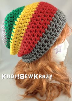 Crochet Slouchy Beanie - Grey Red Yellow and Green Stripe Rasta. $20.99, via Etsy.