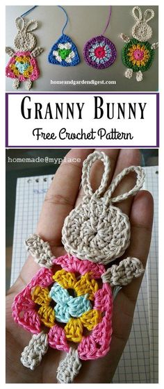 Granny Bunny Free Crochet Pattern Spring is almost here. It's time to celebrate the arrival of warmer weather and longer days by creating crochet bunnies to share with family and friends. This Granny Bunny Free Crochet Pattern is super fun and easy. Crochet Simple, Crochet Diy, Crochet Motifs, Easter Crochet, Crochet Bunny, Love Crochet, Crochet Gifts, Crochet Dolls, Crochet Ideas