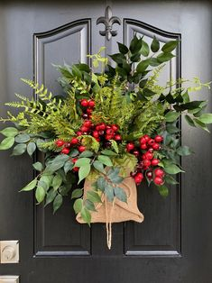 Winter Baskets for Front Door, Burlap Wrapped Bouquet, Farmhouse Style Christmas Front Doors, Christmas Door Decorations, Christmas Arrangements, Christmas Porch, Outdoor Christmas, Holiday Wreaths, Christmas Holiday, Winter Wreaths, Winter Porch Decorations