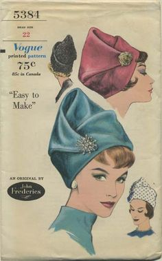 Vintage Hat Sewing Pattern Vogue 5384 Year 1961 Head Size 22 Draped Toque a John Frederics original Hat Patterns To Sew, Vogue Sewing Patterns, Vintage Sewing Patterns, Green Label, Image Mode, Patron Vintage, Turbans, Vintage Outfits, Vintage Fashion