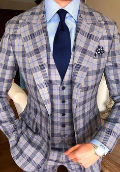 Men's Plaid Tweed 3 Piece Suit Slim Fit One Button Dinner Suit Tuxedo 3 Piece Suit Slim Fit, 3 Piece Suits, Best Suits For Men, Cool Suits, Mens Fashion Suits, Mens Suits, Men's Fashion, Smoking Verde, Blue Suit Men