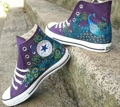 Peacock painted on purple Converse. by Savybutterfly Peacock painted on purple Converse. Purple Converse, Converse All Star, Converse Shoes, Cheap Converse, Converse High, Cute Shoes, Me Too Shoes, Grell Black Butler, Fashion Shoes