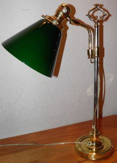 Vintage ART DECO Brass & Steel desk Lamp Retro Green Cased Shade Price to…