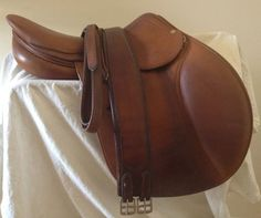 "Item #AN48C - Antares 17"" 4 Flap (Long) 2006 Full Calfskin Saddle with Matching Antares Leathers and a Girth. $2595"
